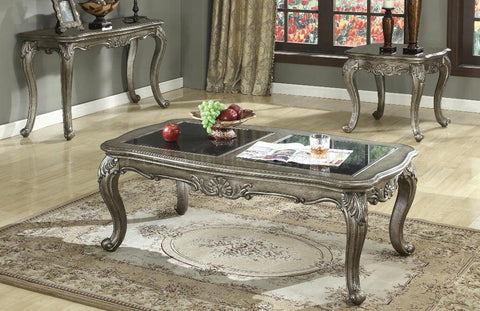 Chantelle Grey Glass Coffee Table by Acme w/Options