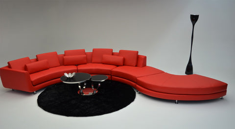 A94 - Contemporary Leather Sectional Sofa & Ottoman