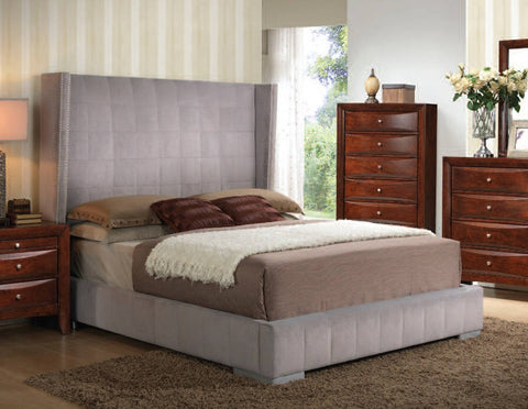 Melissa Bed in Gray Velvet (Multiple Sizes)