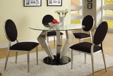 Turner Black Fabric Metal Glass 5pc Dining Room Set