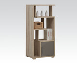 Light Oak Wooden Cube Bookcase Bookshelf Display Table with One Door