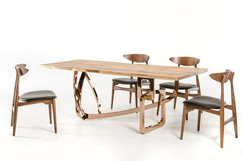 Modrest Auburn Modern Live Edge Wood Dining Table Set