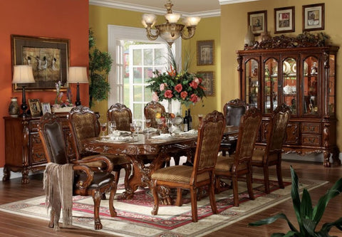 Dresden Cherry Oak Finish Traditional Formal Dining Table + 6 Chairs