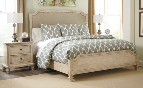 5PC Demarlos Queen Upholstered Panel Bed Set