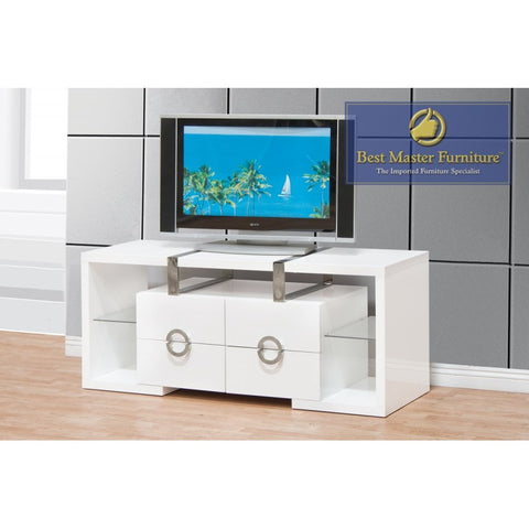 "55"" Inch White Tv Cabinet Media Console (4 Drawers)"