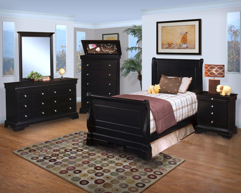 New Classic Belle Rose Youth Sleigh Bedroom Set in Bordeaux Finish