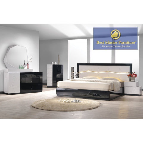 Berlin Modern Black/White Lacquer Wood 5-PC Platform Bedroom Set