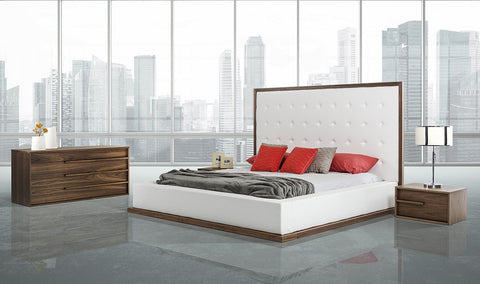 Modrest Beth Modern Walnut with White Leatherette Bed Set