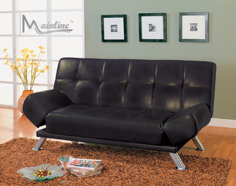 Black By-Cast leather Futon Sofa Bed