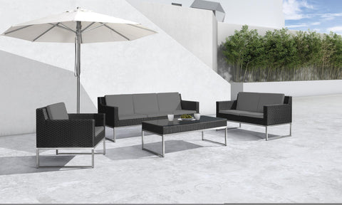 Cabo Outdoor Grey & Black Sofa Set