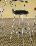 Round Glass Bar Table w/ 2 Chrome Bar Stools