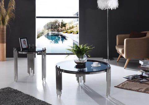 Modrest Totem Modern Stainless Steel & Smoked Glass Coffee Table