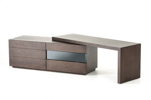 Modrest Heath - Modern Brown Oak Adjustable TV Stand