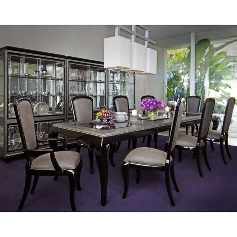 Michael Amini After Eight Formal Dining Room Set in Black Onyx