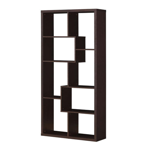 Mileta 8-Shelf Open Bookcase in Cappuccino