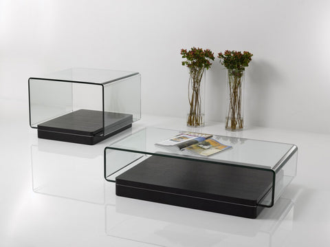 Modrest Vitro Modern Glass and Oak Coffee Table - Empire Furniture Home Decor & Gift