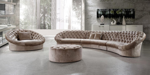 Modern Fabric Sectional Sofa w/ Tufted Crystal