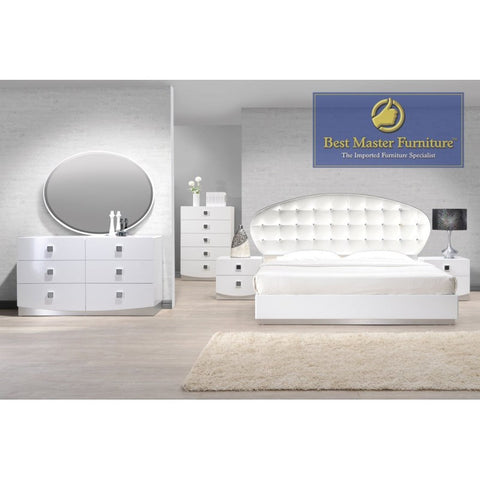 France White Lacquer 5PC Bedroom Set Faux Crystal