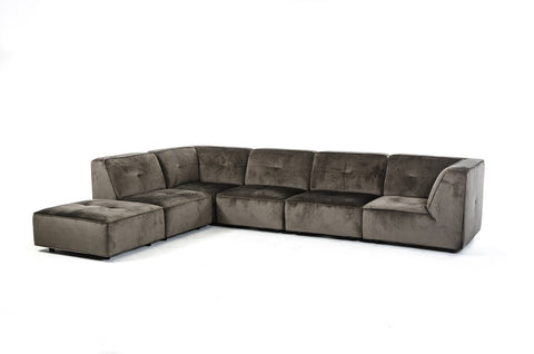 Freesia Modern Dark Grey Fabric Sectional Sofa