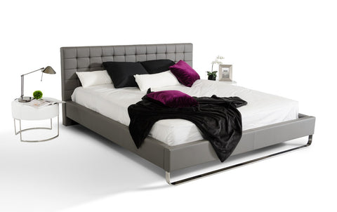 Modrest Gemma Modern Grey Leatherette Bed