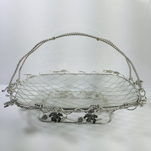Metal decorative fruit bowl w/ glass insert