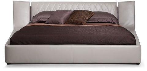 Denmark - Modern Grey & Brown Oak Bed w/ Lights