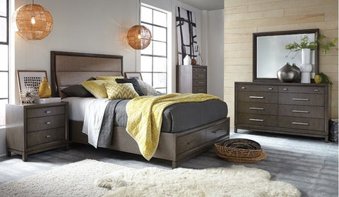 Najarian Furniture Cordova Bed Queen Bedroom Set Gray/ Storage and Chest