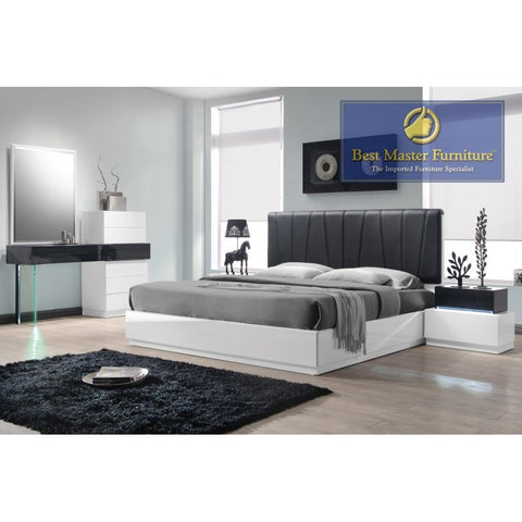 Ireland Modern 5PC Bedroom Set - White-Gray Lacquer