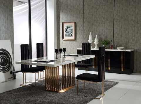 Modrest Kingsley Modern Marble & Rosegold Dining Table Set
