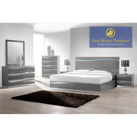 Leon Bedroom Collection - Gray Lacquer with LED Headboard