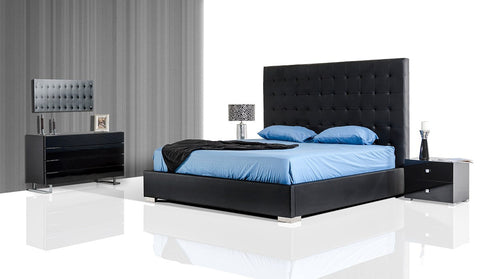 Modrest Lyrica - Black/White Leatherette Tall Headboard Bed
