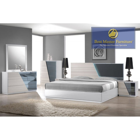 Manchester 5-Piece Bedroom Set in Zebra White (Multiple Sizes)