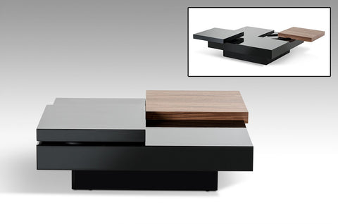 Ambry Modern Walnut and Black Coffee Table