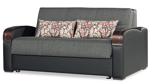 European Modern Fabric Loveseat Full Size Sleeper Storage - Empire Furniture Home Decor & Gift