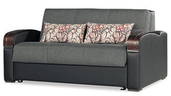 European Modern Fabric Loveseat Full Size Sleeper Storage