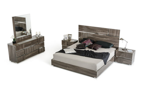 Queen Modrest Picasso Italian Modern Grey Lacquer Bedroom Set