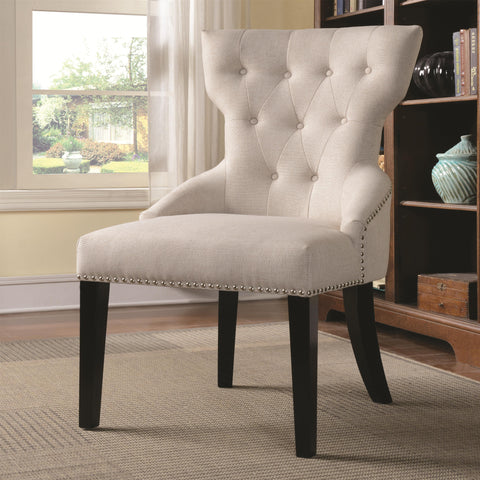 Button Tufted Back Chair with Nail Head Trim