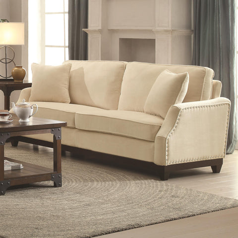 Acklin Transitional Sofa with Nail Head Trim & Track Arms