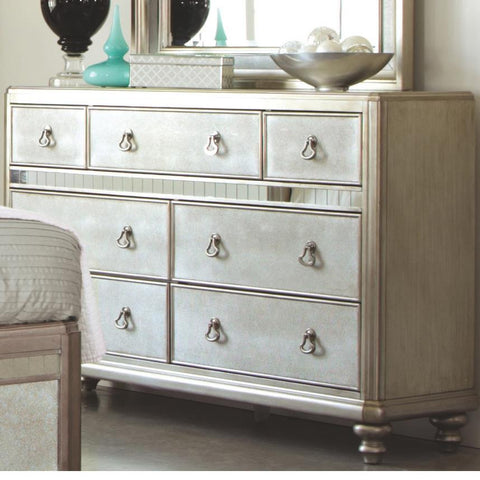 Bling Game Dresser with 7 Drawers and Stacked Bun Feet