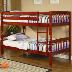 Coral Traditional Twin Over Twin Bunk Bed in Warm Cherry Finish