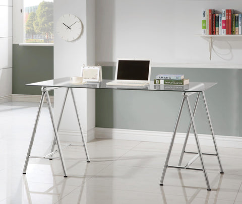 Writing Desk with Tempered Glass Top