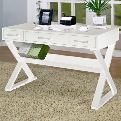 Casual 3-Drawer Desk with Criss-Cross Legs
