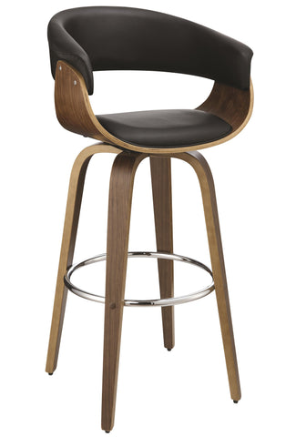 White/Black Contemporary Upholstered Bar Stool