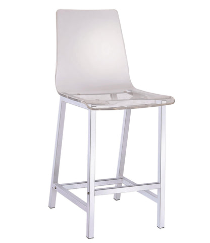 Acrylic Counter Height Stool with Chrome Base