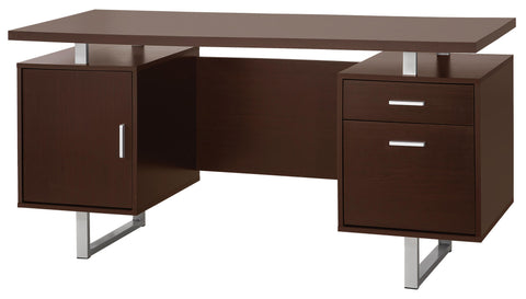Glavan Contemporary Double Pedestal Office Desk with Metal Sled Legs & Floating Desk Top
