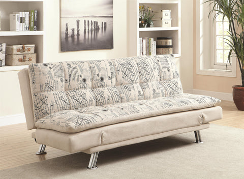 Kay Kay Sofa Bed with Script Pattern and Metal Legs