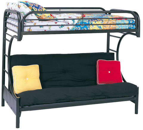 Fordham C Style Twin Over Full White/Black Futon Bunk Bed