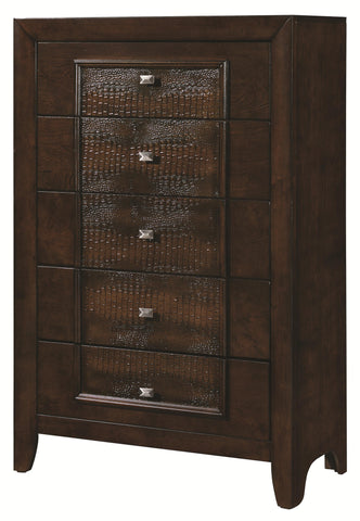 Marshall Contemporary Style 5 Drawer Chest with Framed Faux Croc Design