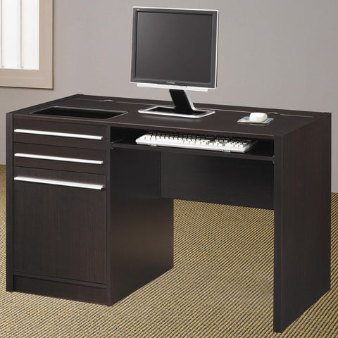 Contemporary Single Pedestal Computer Desk with Charging Station
