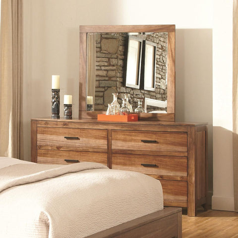 Peyton 6 Drawer Dresser with Wood Framed Mirror